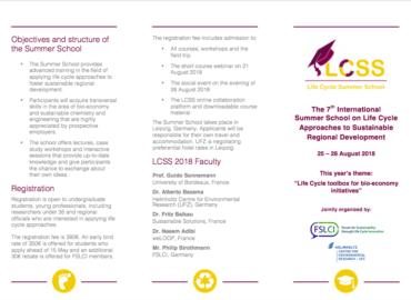 ¡Atención! Abiertas las postulaciones para la 7ª versión del Summer School on Life Cycle Approaches to Sustainable Regional Development