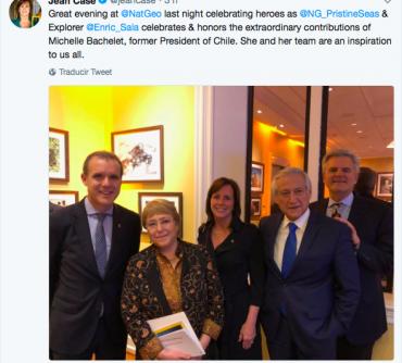 Chile y Ex Presidenta Michelle Bachelet reciben premios de NatGeo