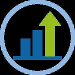 Icono grafico finanzas con flecha hacia arriba