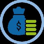 Icono bolsa de dinero y monedas