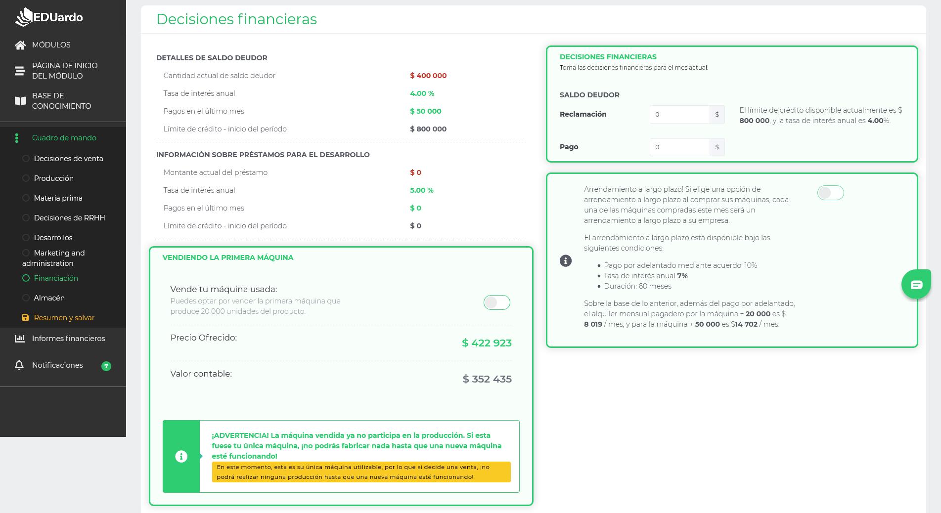 Simulacion de decisiones financieras EDUardo
